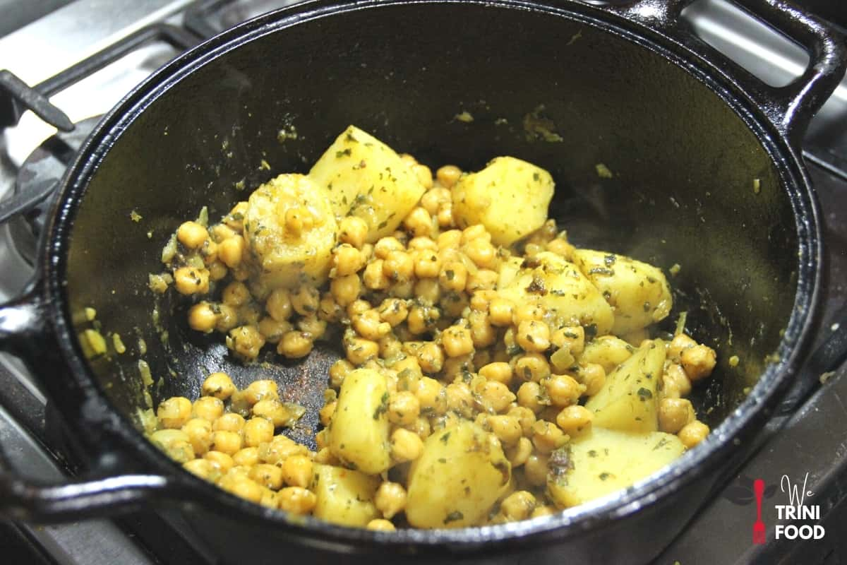 cook down chickpeas and potatoes