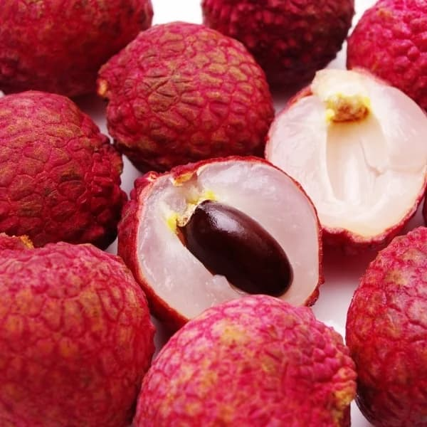 lychee fruits with cut fruit