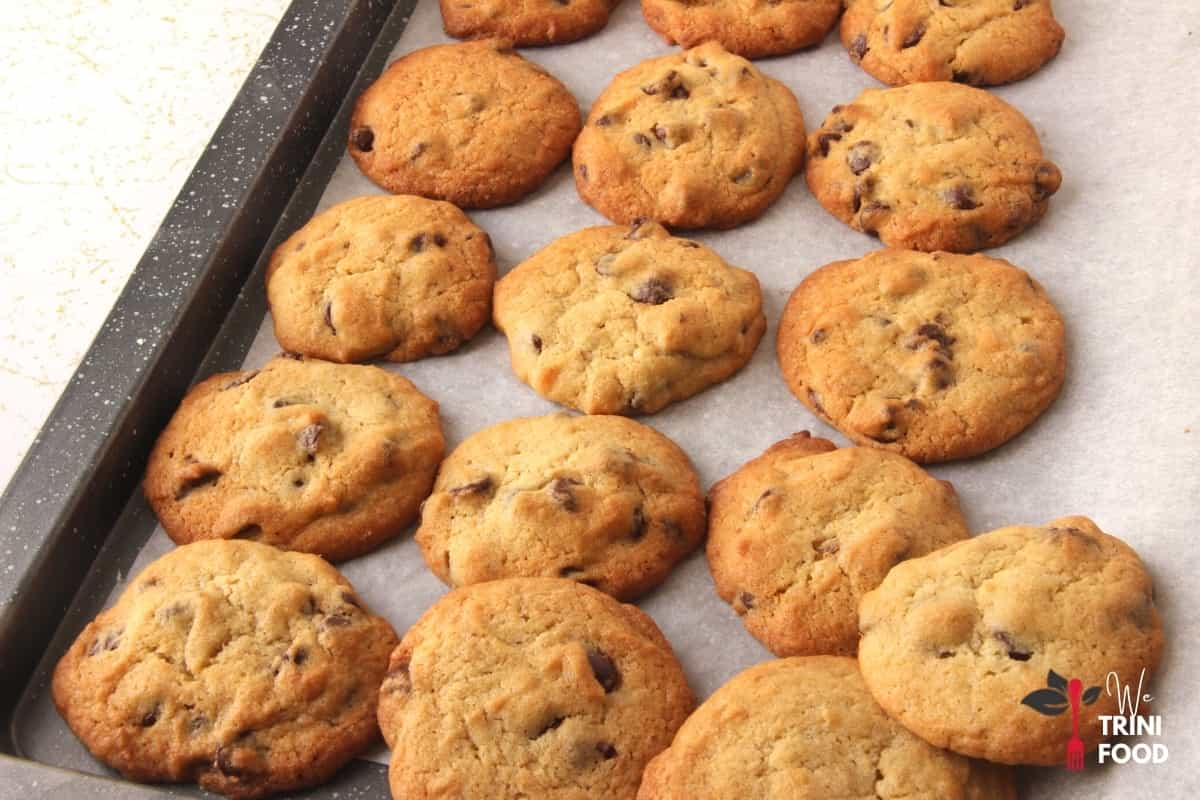 batches of chocolate chip cookies