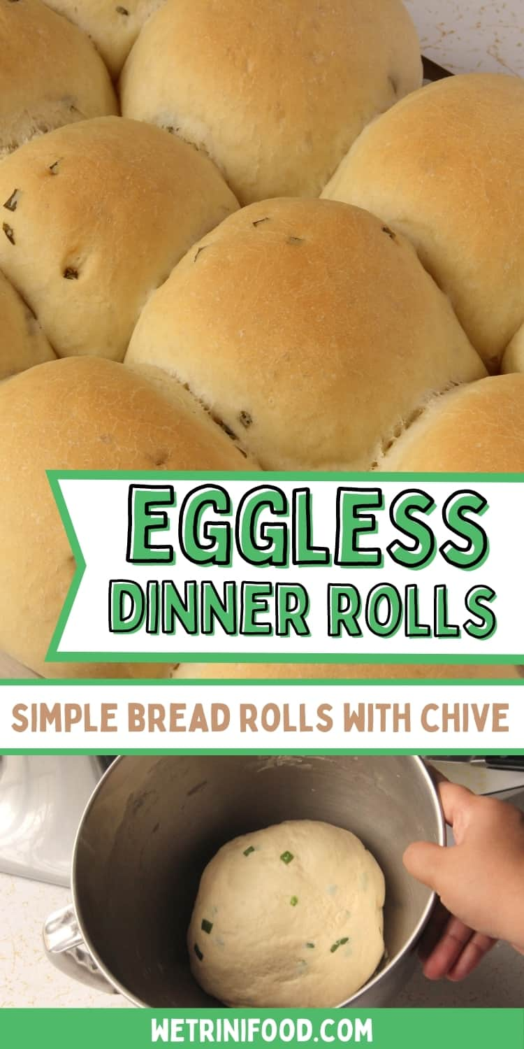 eggless dinner rolls with chive