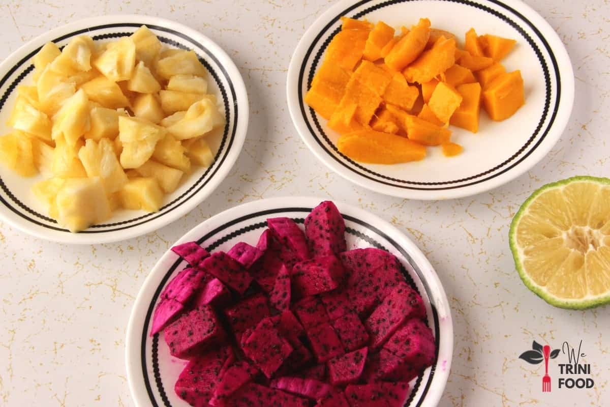 ingredients for tropical fruit salad with dragon fruit