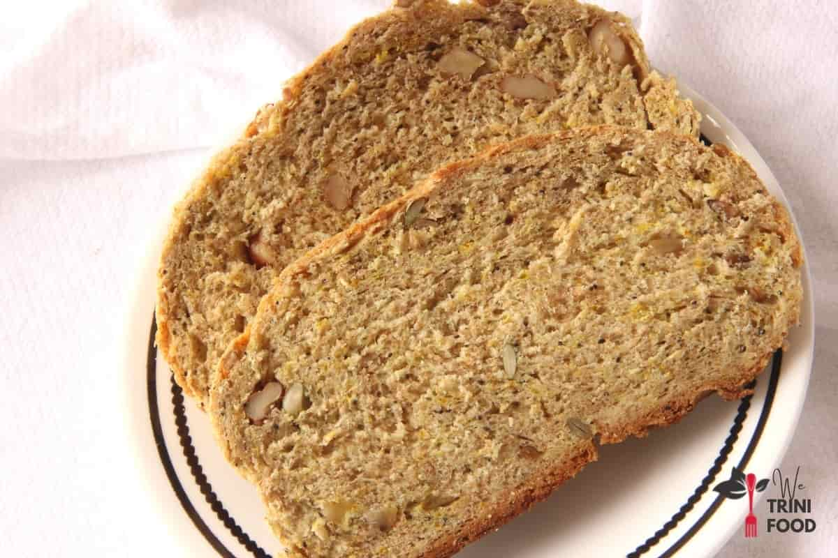 whole wheat bread slices with nuts and seeds