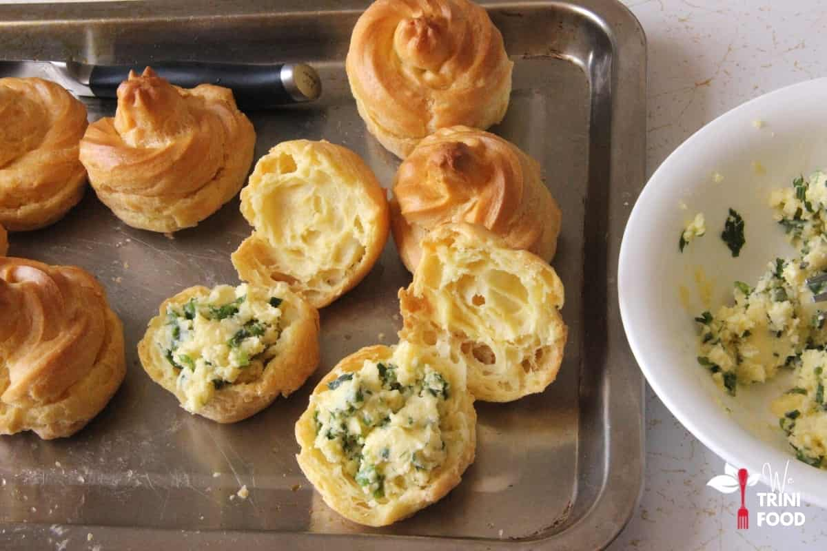 add cheese paste to puffs