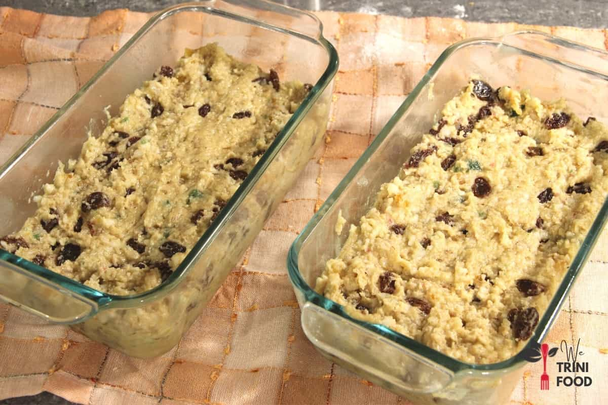 divide the coconut sweet bread dough into two