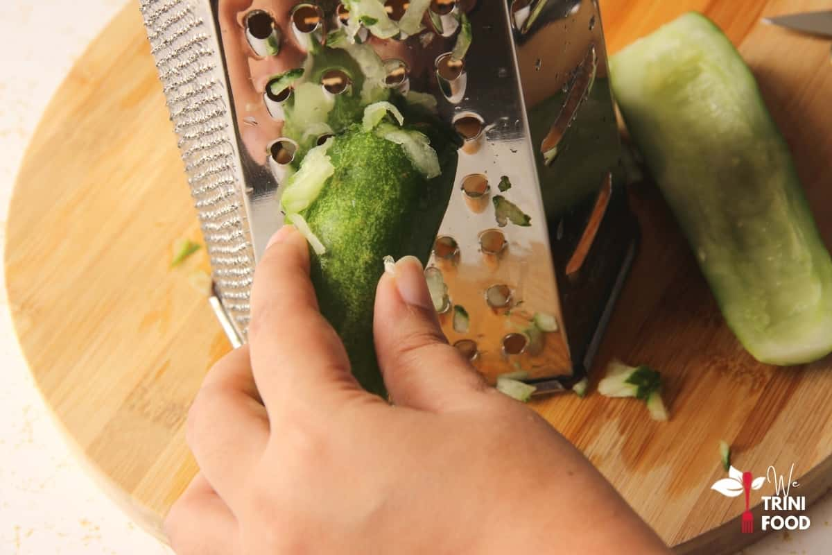 grate cucumber for chutney