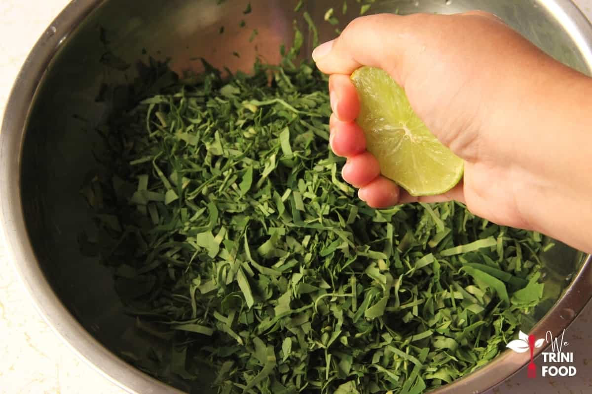 add lime juice to dasheen leaves